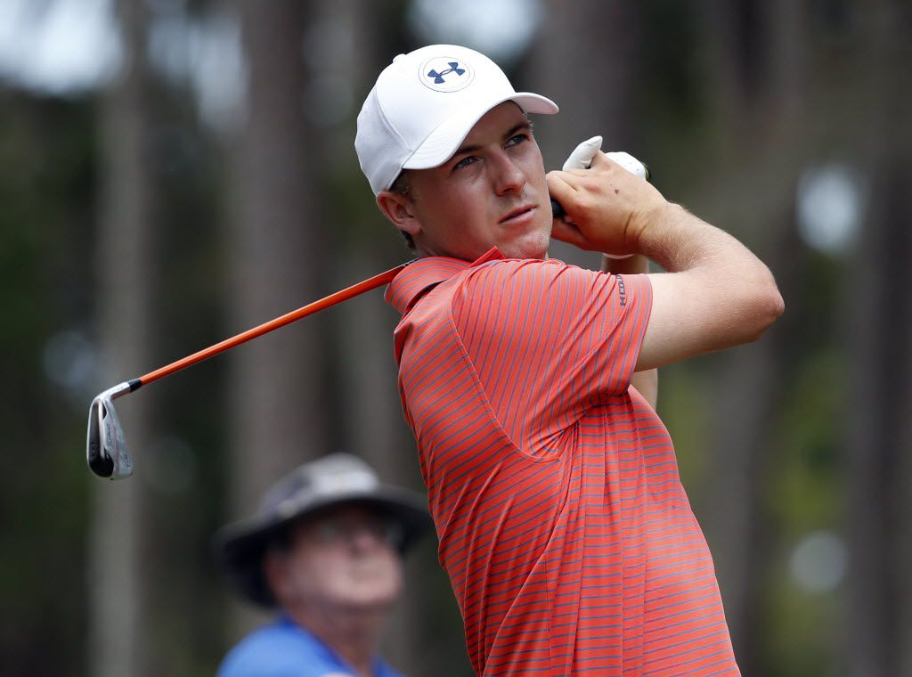 May 13, 2016; Ponte Vedra Beach, FL, USA; Jordan Spieth hits his tee shot on the 6th hole during the second round of the 2016 Players Championship golf tournament at TPC Sawgrass - Stadium Course. Mandatory Credit: Jason Getz-USA TODAY Sports