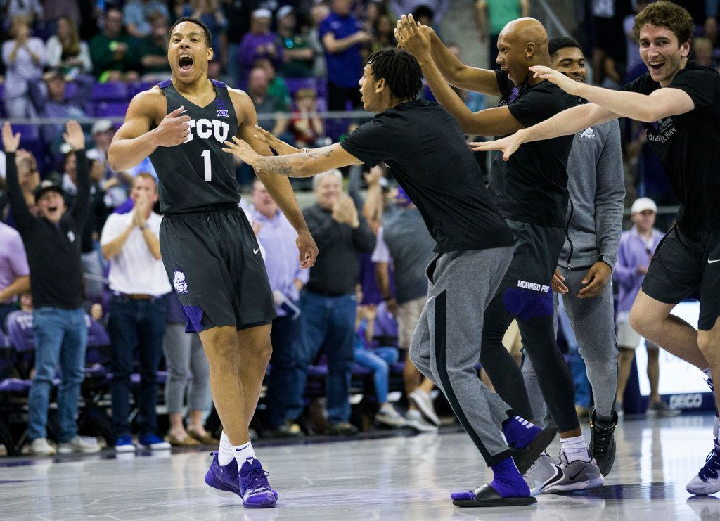 TCU Horned Frogs guard Desmond Bane (1) celebrates after a point during the second half of an NCAA mens basketball game between Baylor and TCU on Saturday, February 29, 2020 at Ed & Rae Schollmaier Arena on the TCU campus in Fort Worth.