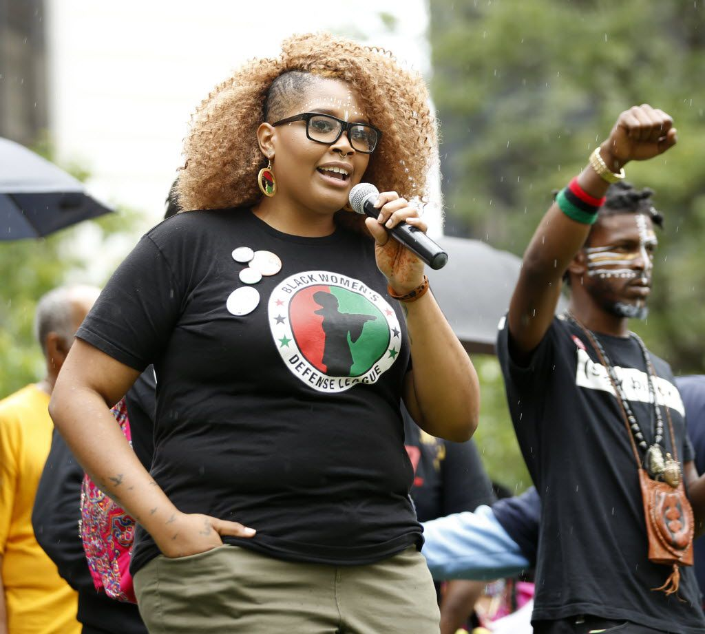 Niecee X (whose real name is Niecee Cornute), of Dallas, speaks during a black unity protest starting in Perk Plaza in Cleveland, Ohio on Saturday, July 16, 2016. The protest is 2 days prior to the start of the Republican National Convention. (Vernon Bryant/The Dallas Morning News)