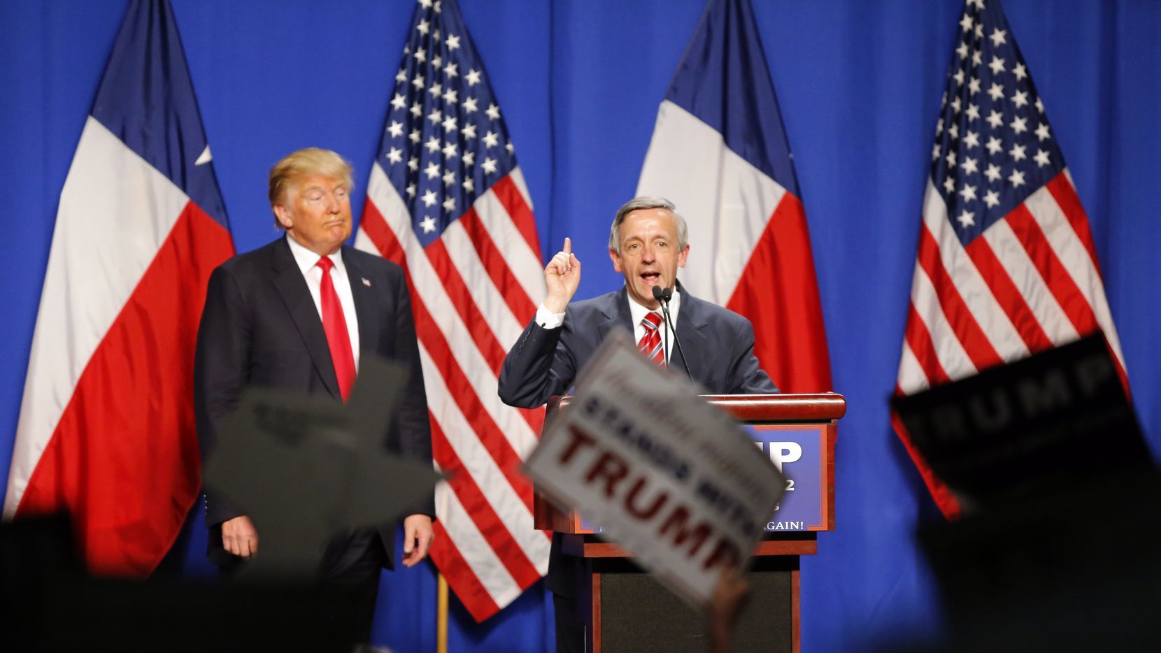 First Baptist Dallas' Robert Jeffress speaks ahead of then-candidate Donald Trump during a rally at the Fort Worth Convention Center in 2016.