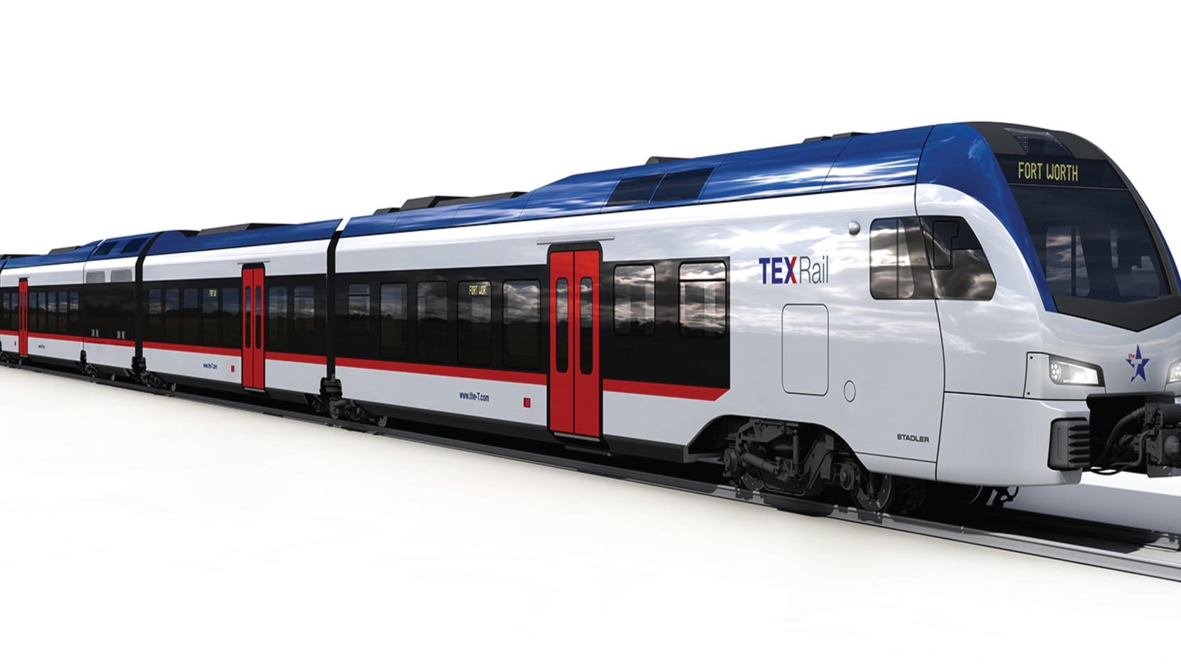 A rendering of a TEX Rail train