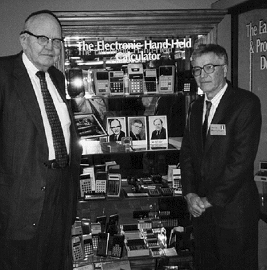 This 1997 photo shows Jack Kilby and Jerry Merryman, right, at the American Computer Museum in Bozeman, Montana. Kilby, Merryman and James Van Tassel are credited with having invented the handheld calculator while working at Dallas-based Texas Instruments.