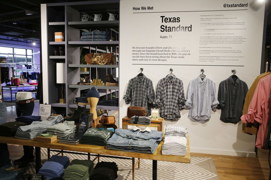 Men's clothing area including clothes with Texas brands at the Market by Macy's in Southlake when it opened in early 2020.