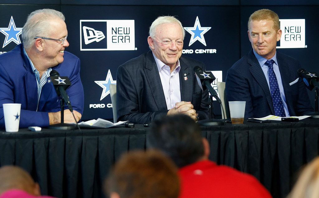 (Left to right) Stephen Jones, Jerry Jones, and Jason Garrett were available to the media as the Dallas Cowboys held a press conference concerning the 2019 NFL draft at The Star in Frisco on Saturday , April 27, 2019.  (Stewart F. House/Special Contributor)