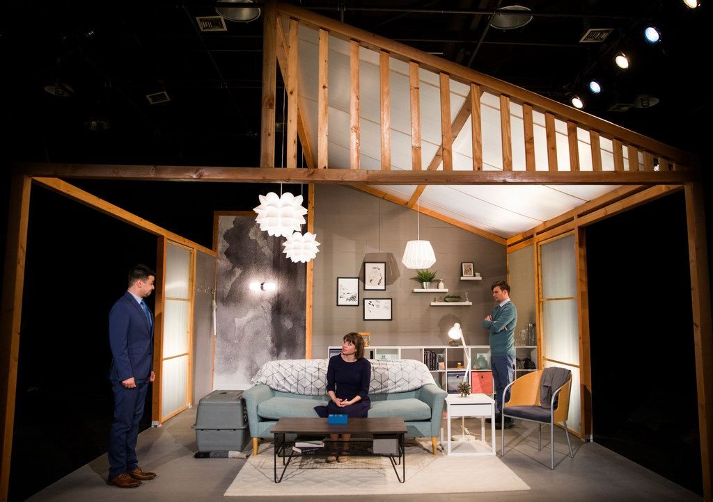 Amelia Bransky's set design for the area premiere of Ana Nogueira's  Empathitrax, presented by Second Thought Theatre, seems claustrophobic at first, but holds surprises that are revealed at just the right moment. (from l-r) Christopher Llewyn Ramirez as a representative for the medication Empathitrax, Jenny Ledel as Her and Drew Wall as Him at Bryant Hall on the Kalita Humphreys campus.