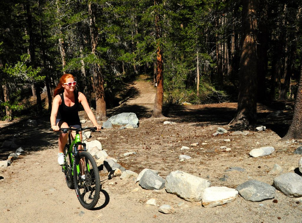 Biking on dirt or paved paths is a popular activity among summer visitors in Mammoth Lakes, Calif.
