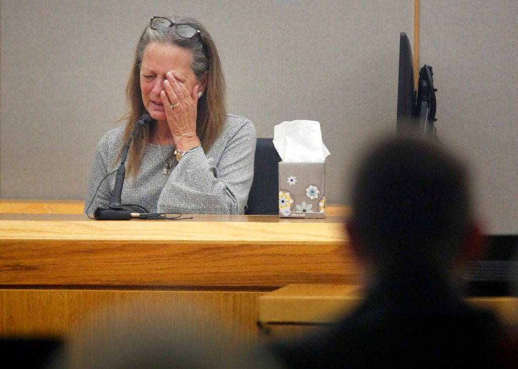 Kendra Hatcher's mother Bonnie Jameson wipes away tears on the witness stand during the murder trial for Brenda Delgado in the 363rd Judicial District Court at the Frank Crowley Courthouse in Dallas, Monday, June 3, 2019. Delgado is accused of hiring Crystal Cortes and Kristopher Love in a murder-for-hire plot to kill Kendra Hatcher, an Uptown dentist.  (Tom Fox/The Dallas Morning News)