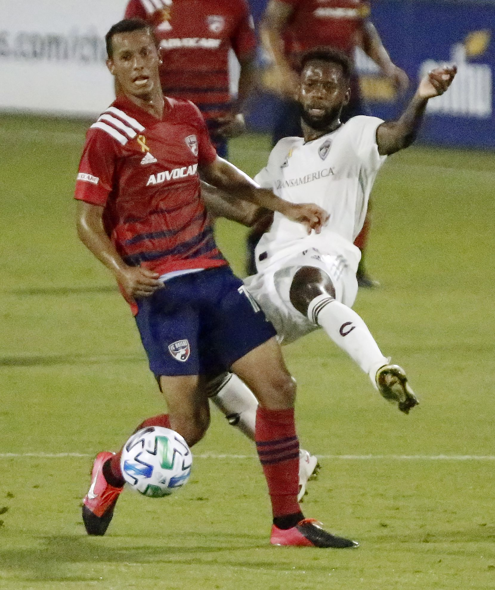 FC Dallas midfielder Pablo Aranguiz (10) and Colorado Rapids midfielder Kellyn Acosta (10) compete for the ball during the first half as FC Dallas hosted the Colorado Rapids at Toyota Stadium in Frisco on Wednesday night, September 16, 2020. (Stewart F. House/Special Contributor)