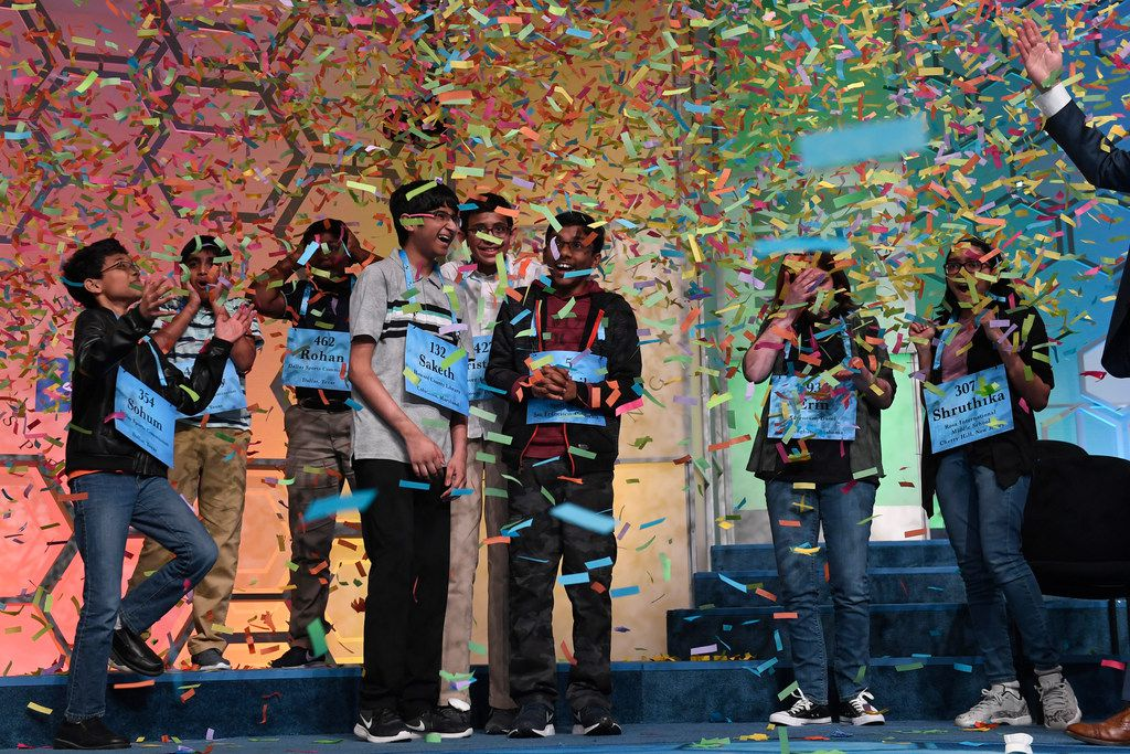 Confetti rains down on the champions after they exhausted the list of words at this year's championship in the nation's capital.