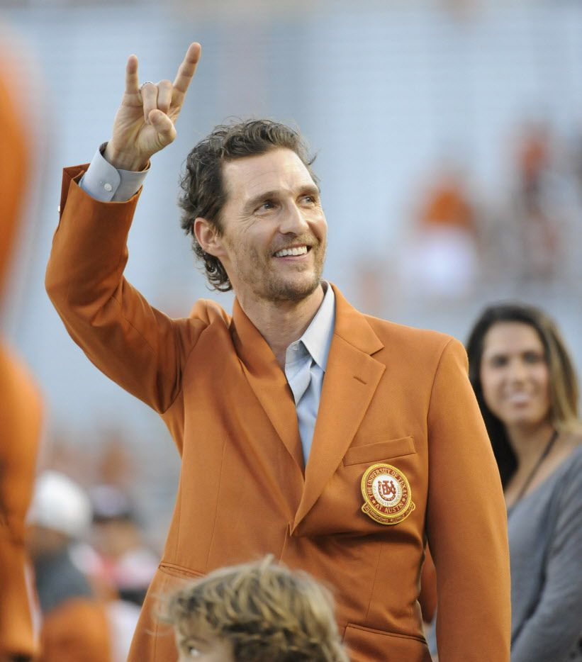 Oct 18, 2014; Austin, TX, USA; Actor Matthew McConaughey greets fans prior to kickoff between the Texas Longhorns and the Iowa State Cyclones at Darrell K Royal-Texas Memorial Stadium.