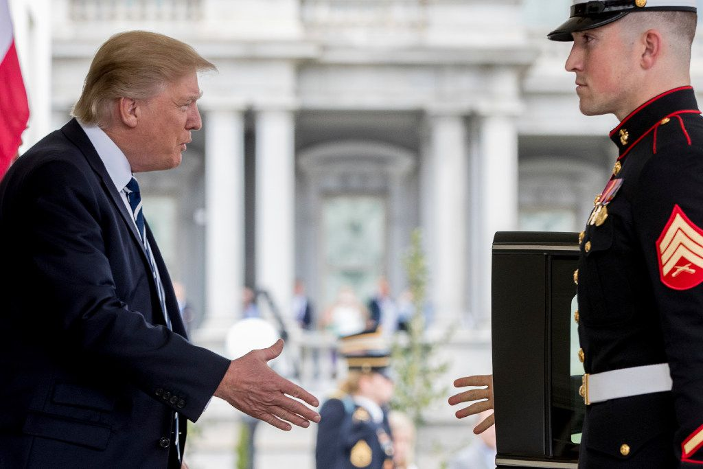 In this April 3, 2017, file photo, President Donald Trump greets Egyptian President Abdel Fattah Al-Sisi as he arrives at the White House in Washington. (AP Photo/Andrew Harnik, File)