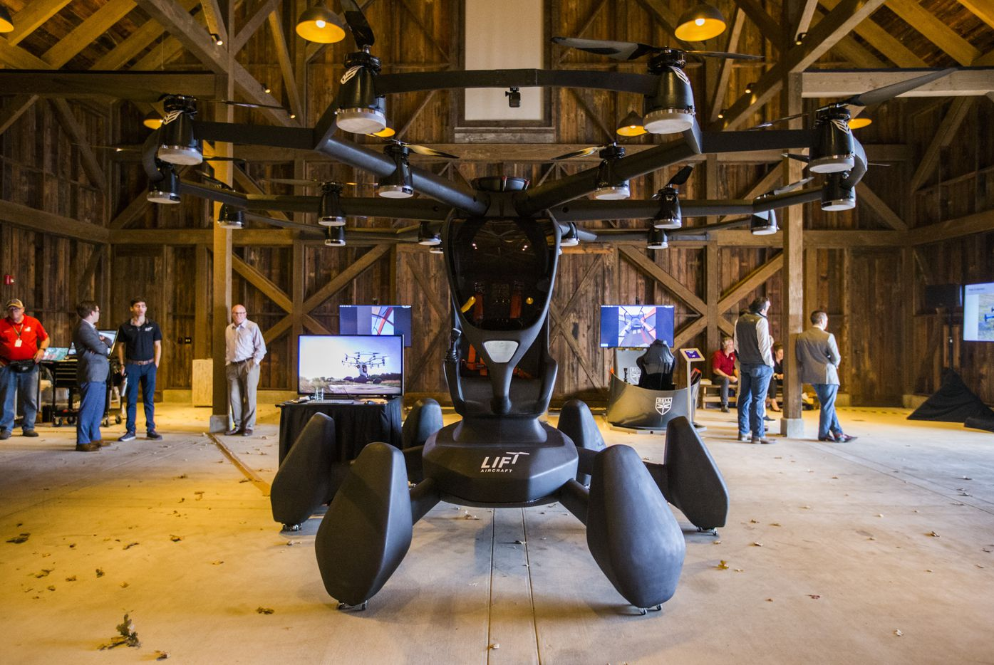 Austin-based LIFT Aircraft showed off its Hexa at the summit. The giant drone-like aircraft has room for a single passenger. The company plans to kick off a road trip across the U.S. later this year or in early 2020 to allow people to ride in it. (Ashley Landis/The Dallas Morning News)