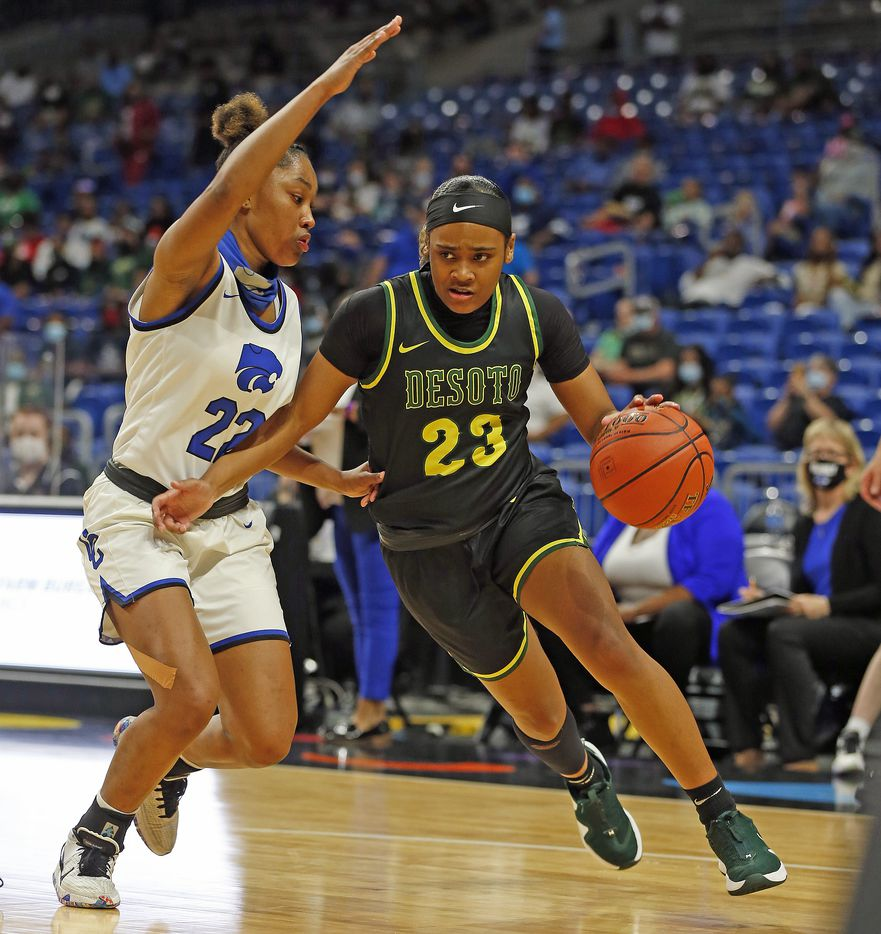 DeSoto Kendall Brown #23 drives on Cypress Creek Kyndall Hunter #22. DeSoto vs. Cypress Creek girls basketball Class 6A state championship game on Thursday, March 12, 2021 at the Alamodome.