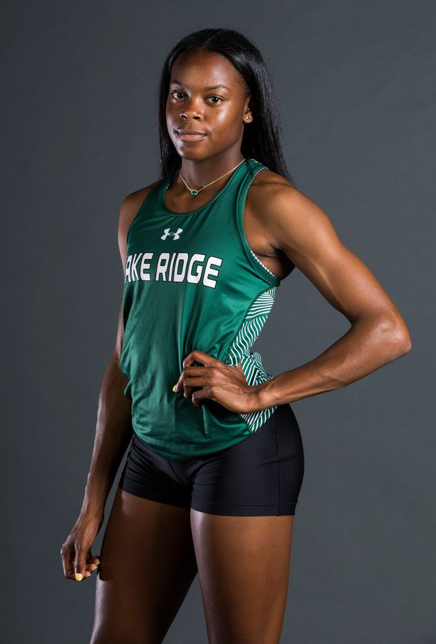 Mansfield Lake Ridge senior Jasmine Moore poses for a portrait at The Dallas Morning News on Friday, May 24, 2019. Moore won UIL Class 6A state titles in long jump and triple jump. In triple jump, she broke the state and national high school record. She's won 14 UIL state medals in her high school career. (Ashley Landis/The Dallas Morning News)
