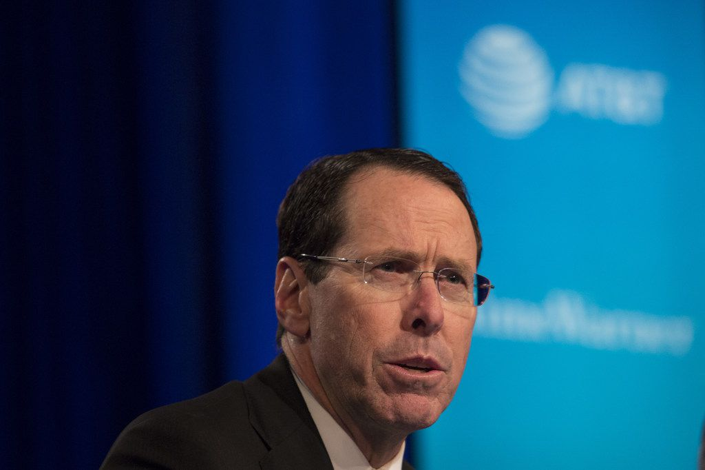 NEW YORK, NY - NOVEMBER 20: AT&T Chairman and CEO Randall Stephenson speaks at a news conference in Time Warner headquarters addressing the latest developments in the AT&T and Time Warner merger on November 20, 2017 in New York City. The U.S. Justice Department filed sued today to block AT&T's proposed $85.4 billion takeover of of Time.  (Photo by Amir Levy/Getty Images)