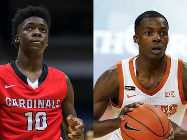 Andrew Jones with Irving MacArthur in 2015 (left) and Texas in 2021.