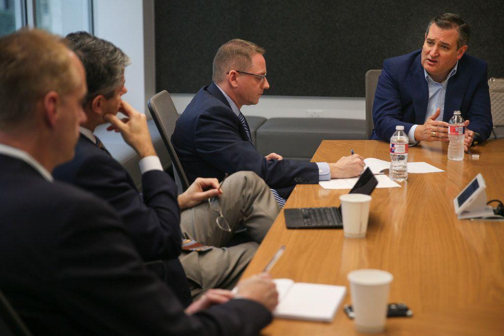 U.S. Senator Ted Cruz, running against Congressman Beto O'Rourke in the Texas U.S. Senate race, talks with The Dallas Morning News Editorial Board on Thursday, Oct. 18, 2018 in Dallas, Texas. (Ryan Michalesko/The Dallas Morning News)