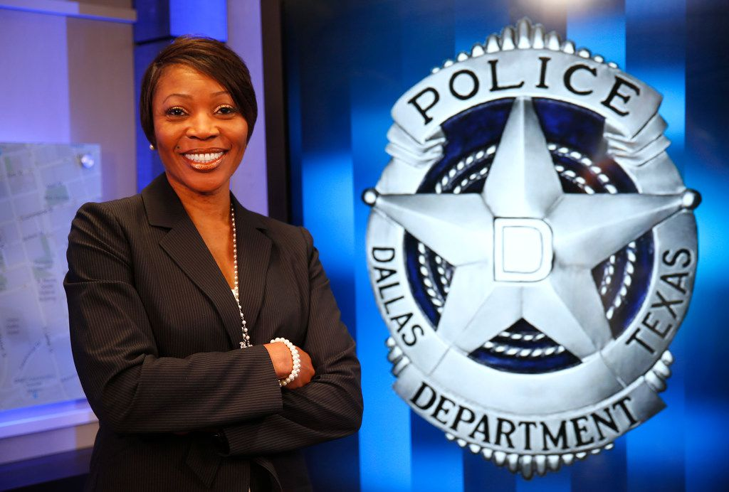 New Dallas Police Chief Renee Hall posed for a photograph at Dallas City Hall on Sept. 12.