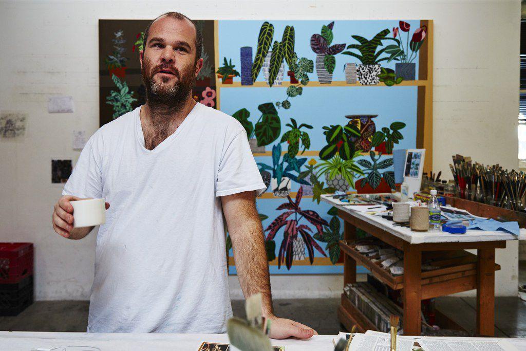 Artist Jonas Wood, in his studio.