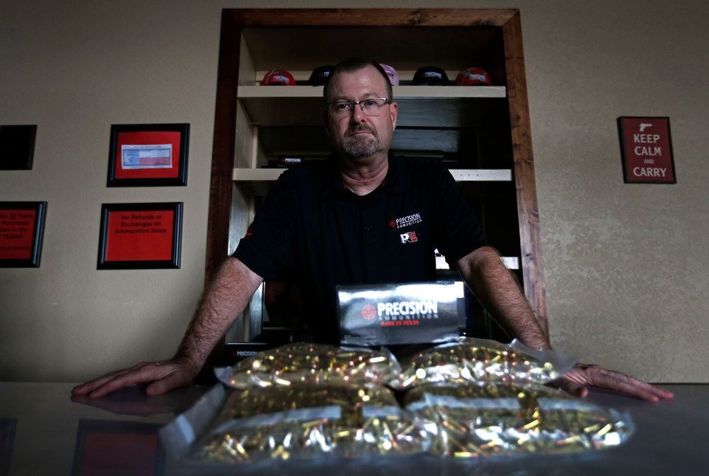 Gary Phillips, co-owner of American Precision Ammunition, inside the company's office in Mineral Wells.