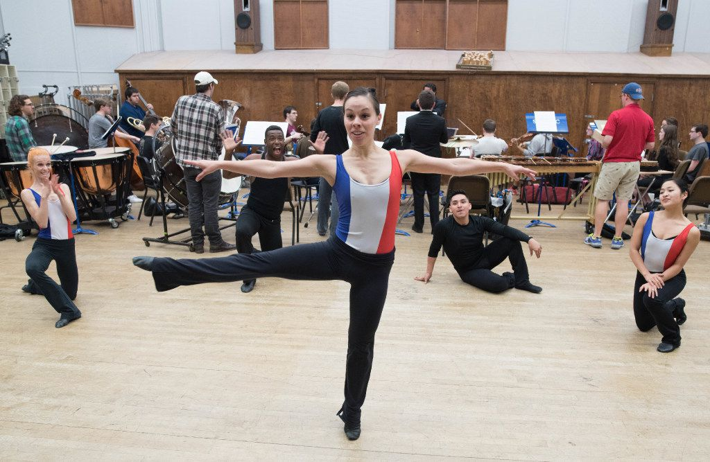 Dallas Neo-Classical Ballet's Whitney Hart rehearses 391 with SMU's Syzygy on April 8, 2017.
