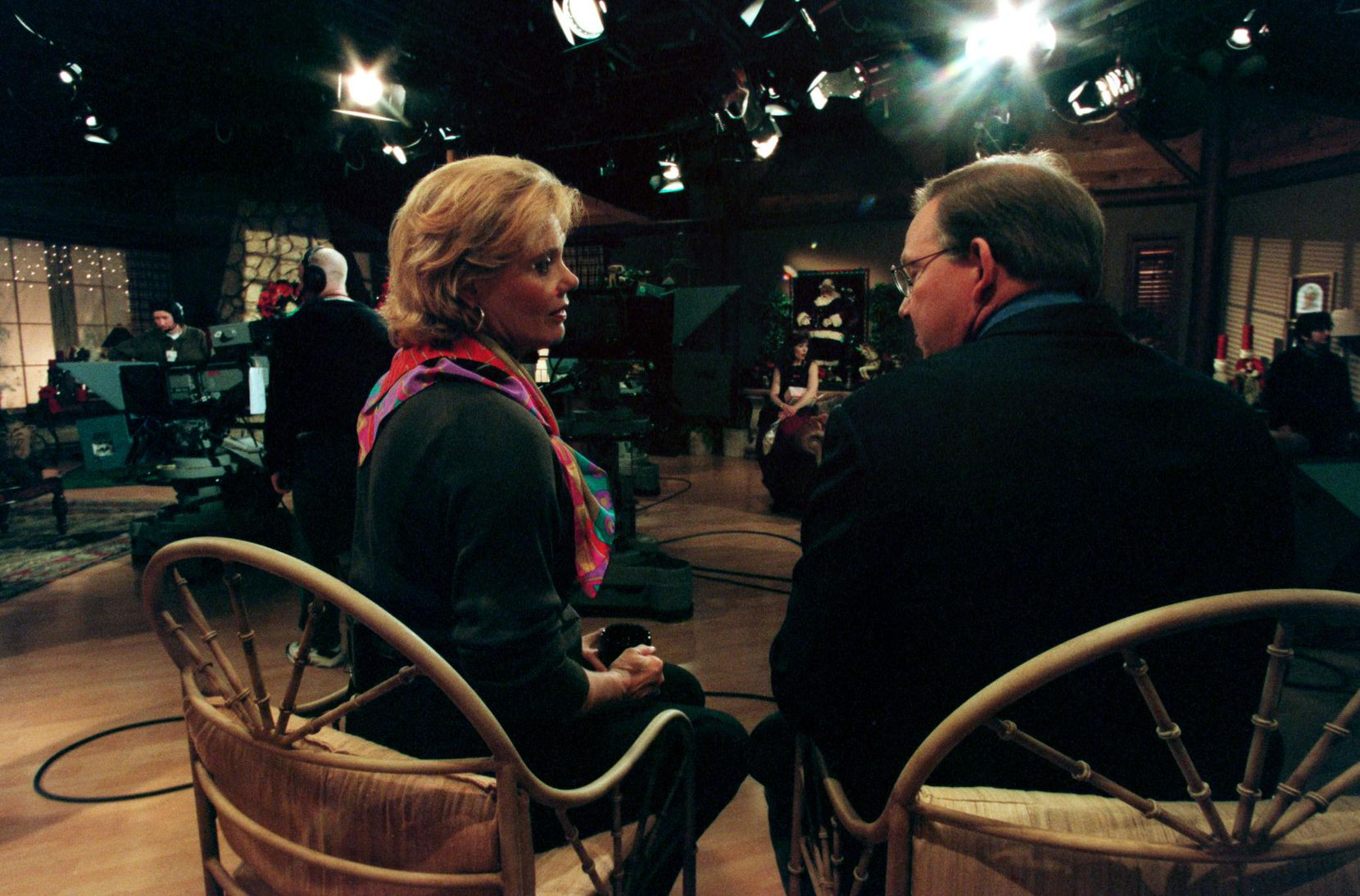 Dotty Griffith talks with Gary Cogill on the set of Good Morning Texas in 1999.