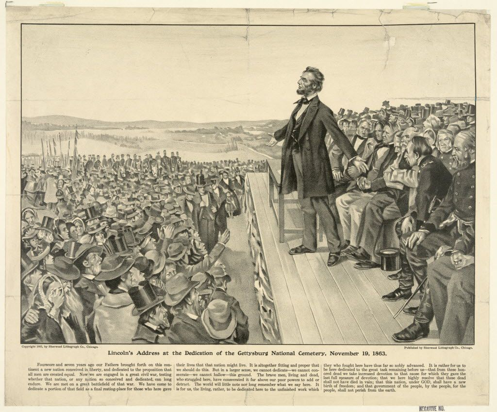This 1905 artist's rendering from the Sherwood Lithograph Co. via the Library of Congress depicts President Abraham Lincoln speaking at the dedication of the Gettysburg National Cemetery on Nov. 19, 1863.