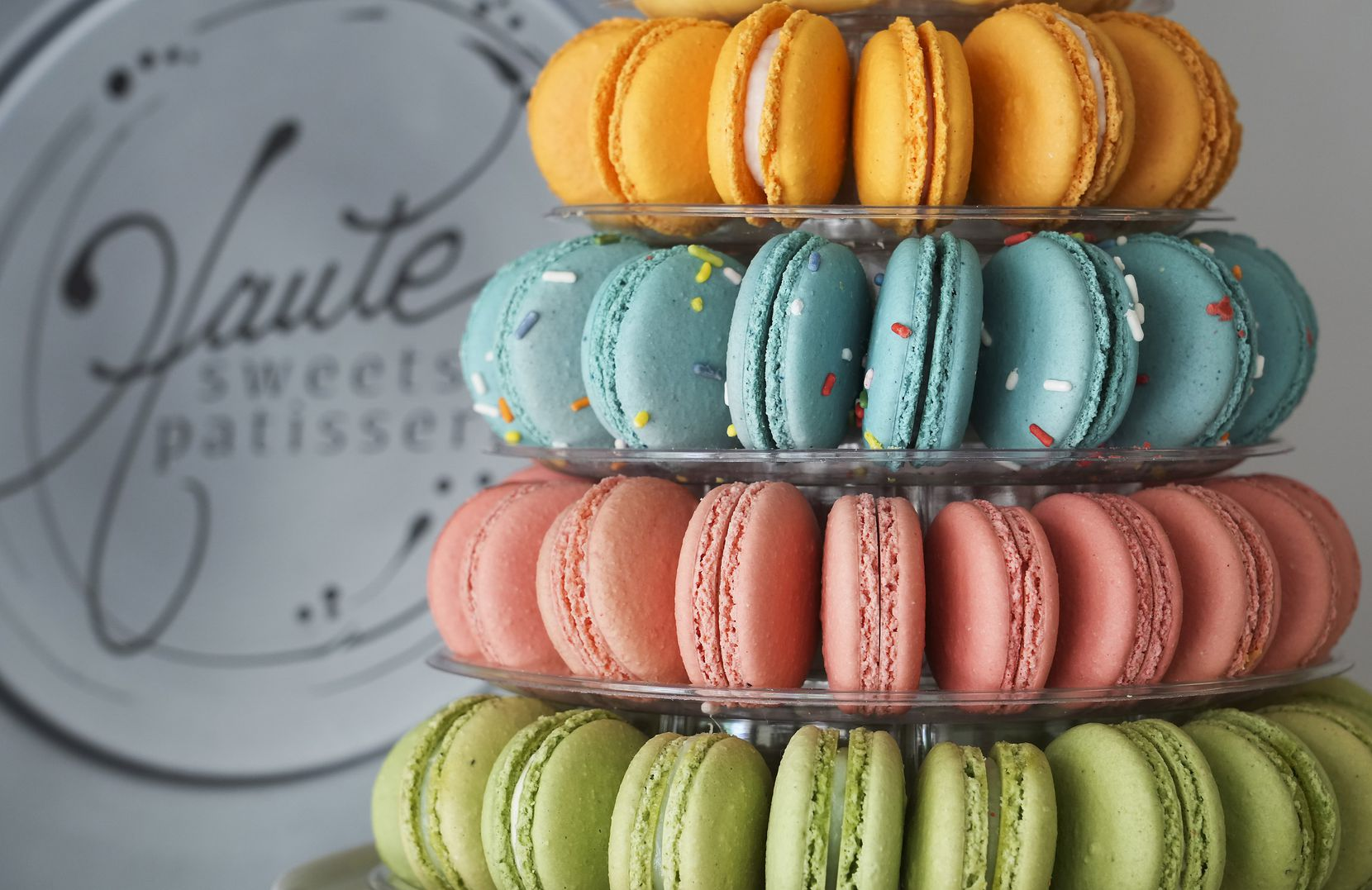 A Macaron Tower at Haute Sweets Patisserie in Hillcrest Village  (Smiley N. Pool/The Dallas Morning News)