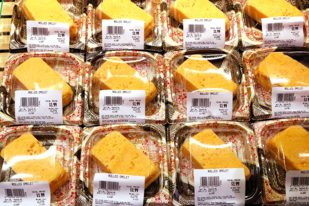 Traditional Japanese egg omelets are one of many authentic foods at Mitsuwa Marketplace on Thursday, April 13, 2017. The grand opening will be on Friday, April 14, 2017 in Plano.It carries a wide variety of quality Japanese groceries, general items, electric appliances, cosmetics and other products in its stores. They were established in March 1998 and currently have nine stores across the United States: seven in California, one in New Jersey, and one in Chicago. Photo taken on Thursday, April 13, 2017.