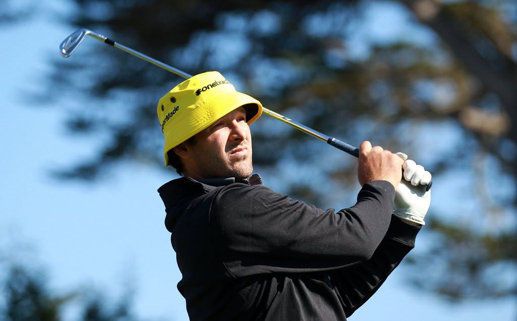 PEBBLE BEACH, CA - FEBRUARY 09:  Tony Romo of the Dallas Cowboys watches his tee shot on the 17th hole during the third round of the AT&T Pebble Beach National Pro-Am at Pebble Beach Golf Links on February 9, 2013 in Pebble Beach, California.