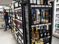 Wines on display at 7-Eleven on Wednesday, November 18, 2020 in Dallas. The new 7-Eleven store will have its grand opening on Thursday. (Vernon Bryant/The Dallas Morning News)