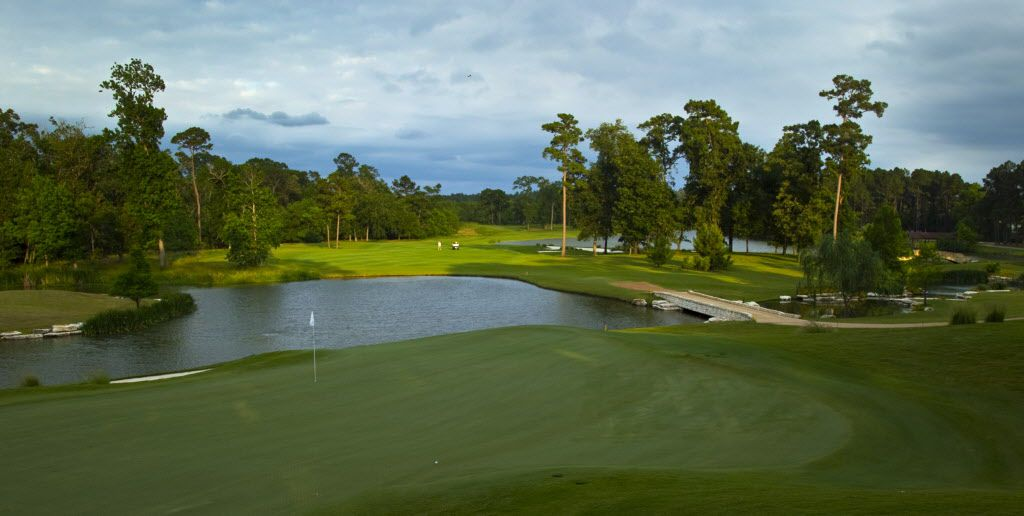 The par 4, No. 18 green and fairway at Whispering Pines Golf Club in Trinity, TX, Wednesday, May 18, 2011.