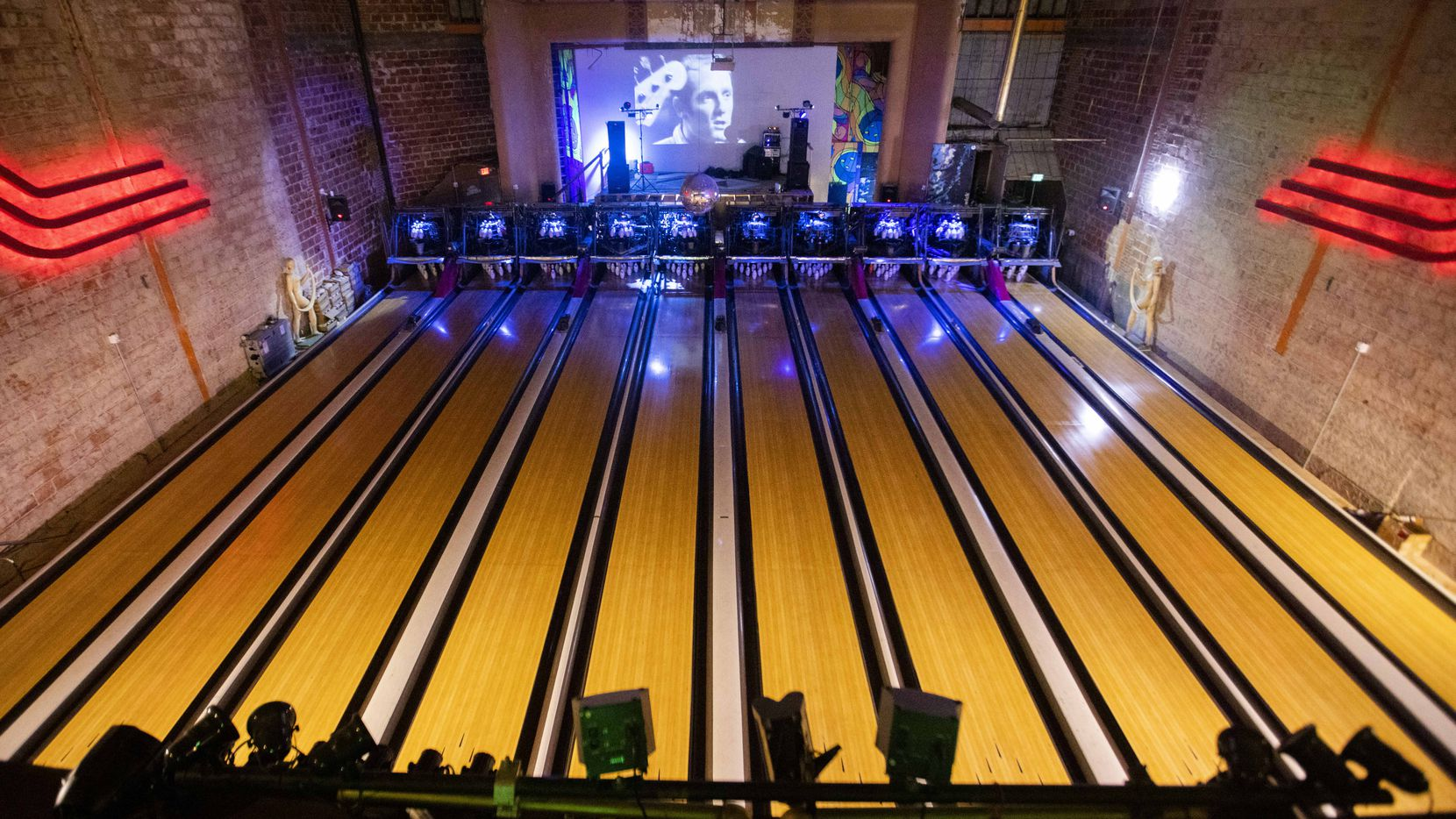 The bandstand looks directly out onto the bowling lanes at Bowlski's, located in the old Lakewood Theater.