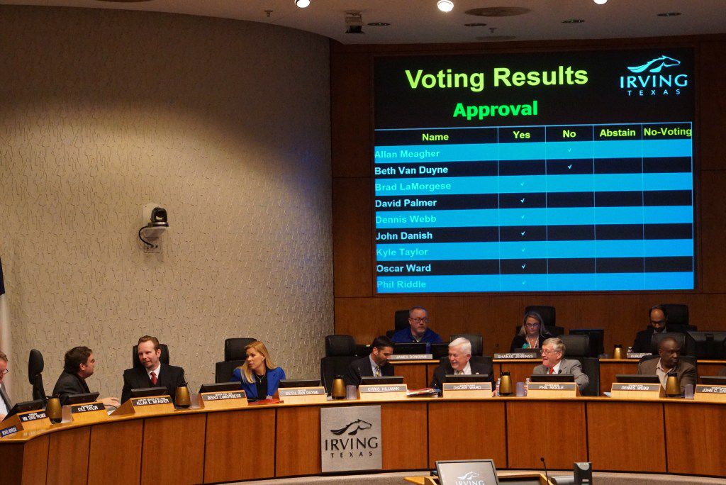 Irving City Council voted in favor of a new chicken ordinance during the city council meeting at City Hall in Irving, Texas on April 6, 2017.