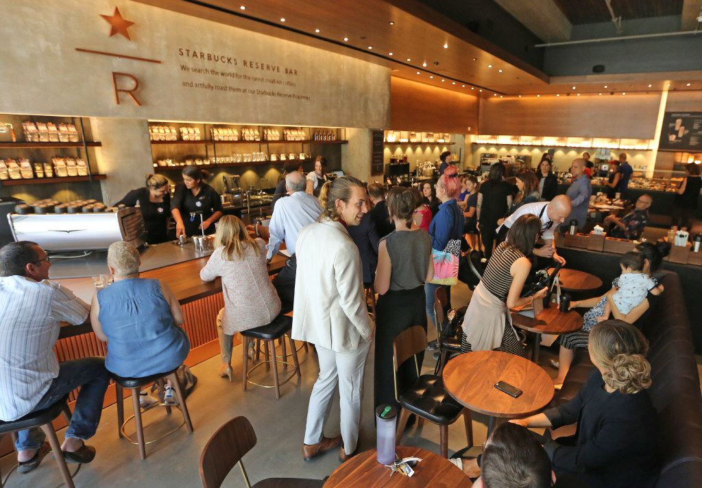 The Starbucks Reserve Bar drew a crowd on opening day.
