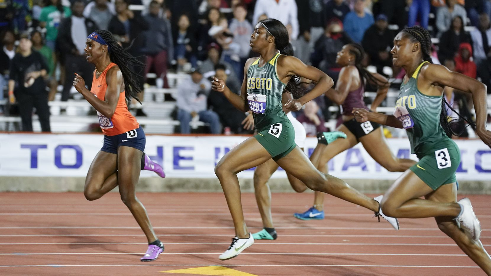 The DeSoto girls, pictured at the 2019 UIL state track meet, will be going for their fifth consecutive Class 6A team state championship this year at Mike A. Myers Stadium in Austin.