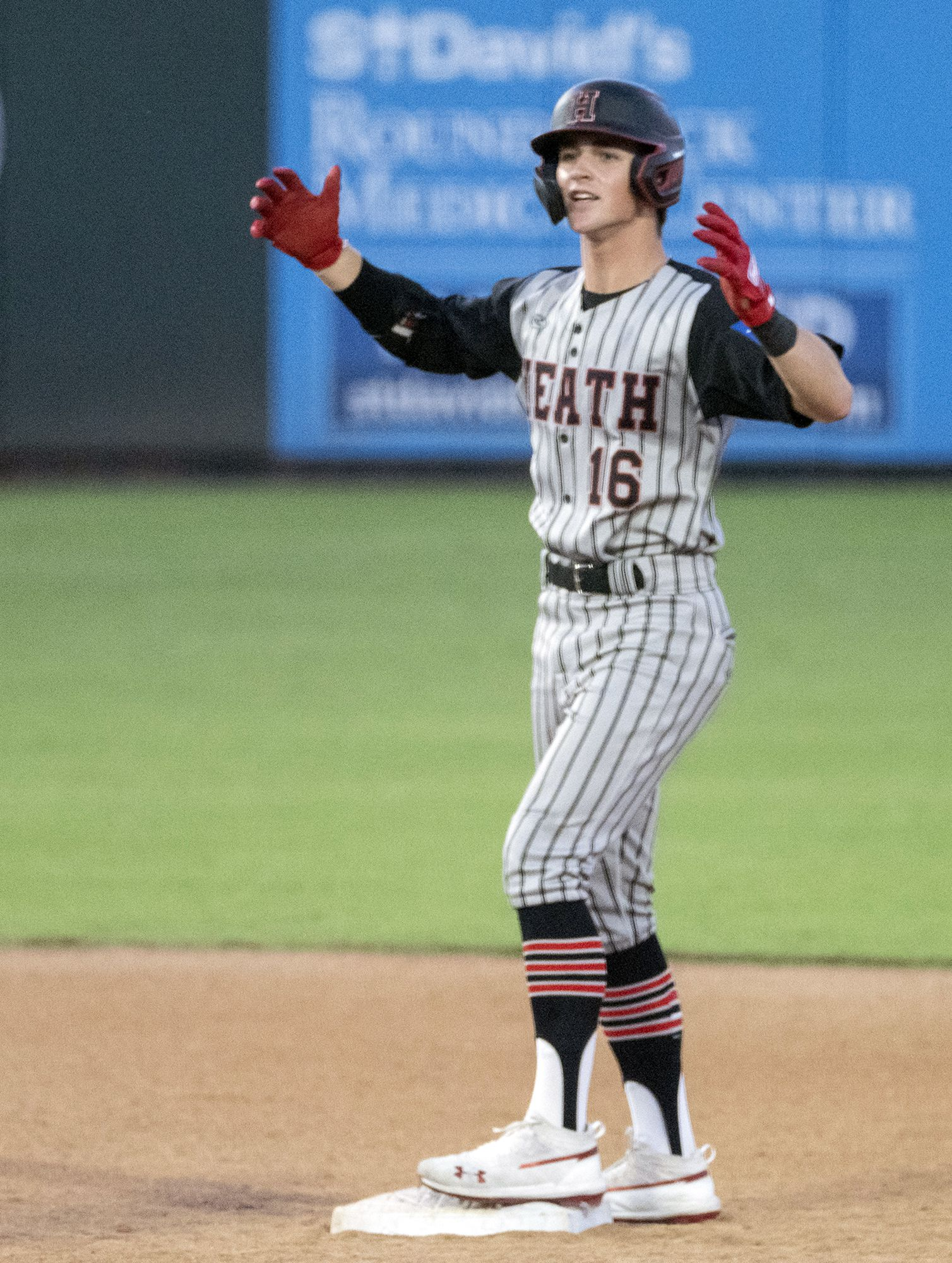 Rockwell-Heath Caden Fiveash, (16), celebrates his double against  Comal Smithson Valley during the second inning of the 2021 UIL 6A state baseball semifinals held, Friday, June 11, 2021, in Round Rock, Texas.    (Rodolfo Gonzalez/Special Contributor)