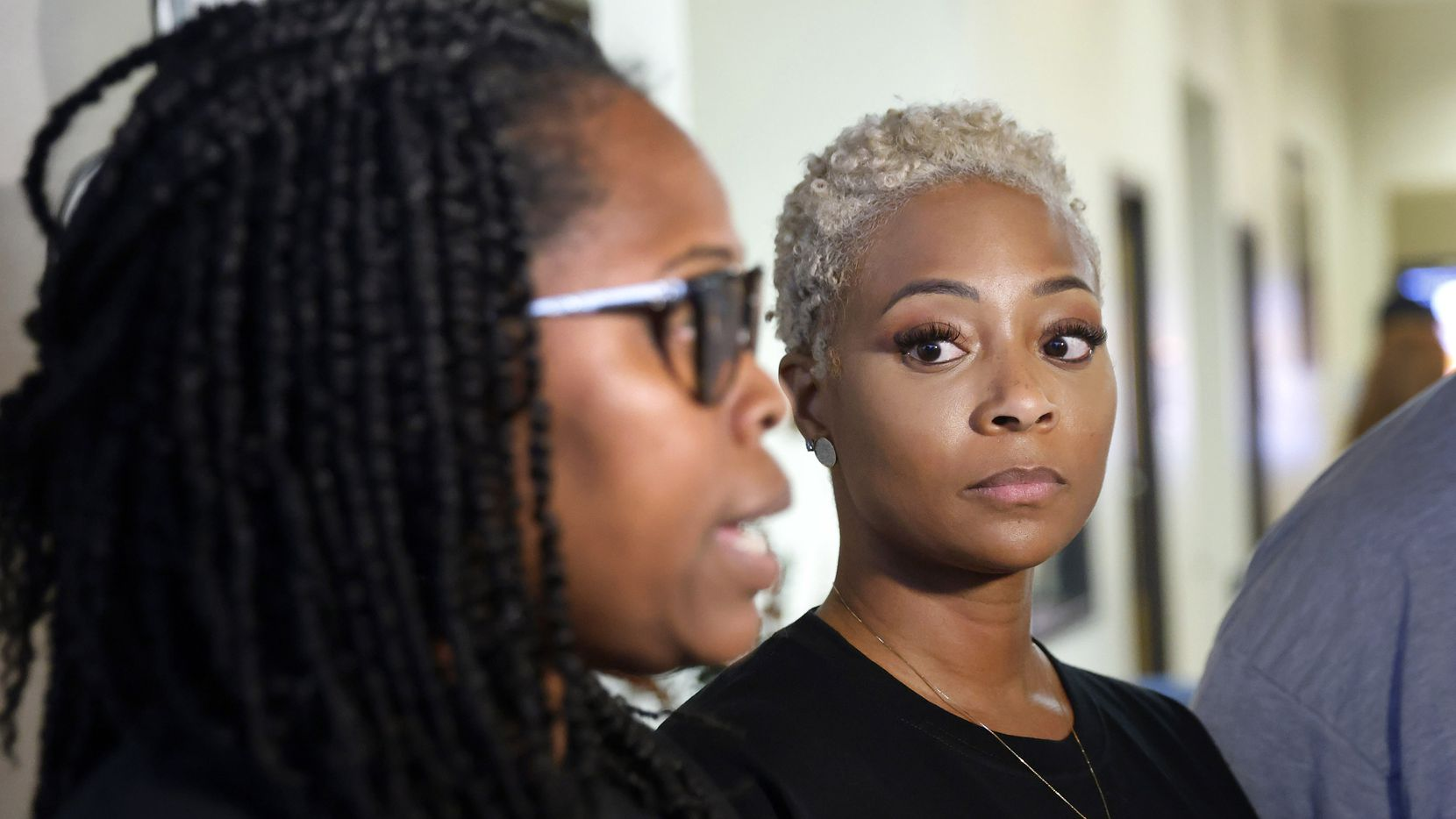 Mothers Tamara Lawrence (left) and Mioshi Johnson spoke to the media Thursday night after addressing the Aledo ISD school board about a racist Snapchat group that targeted their ninth-grade sons.