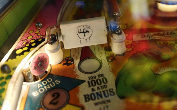 In this Dec. 16, 2013 photo, a spinner and target are shown on the 1979 Incredible Hulk pinball machine at the Seattle Pinball Museum in Seattle.