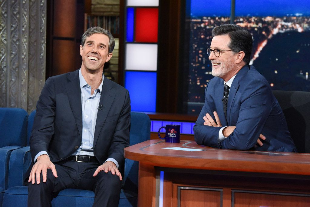 The Late Show with Stephen Colbert and guest Rep. Beto O'Rourke during Wednesday's September 12, 2018 show. Photo: Scott Kowalchyk/CBS