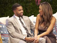"Ivan Hall and Tayshia Adams chat during an episode of Season 16 of ""The Bachelorette."""