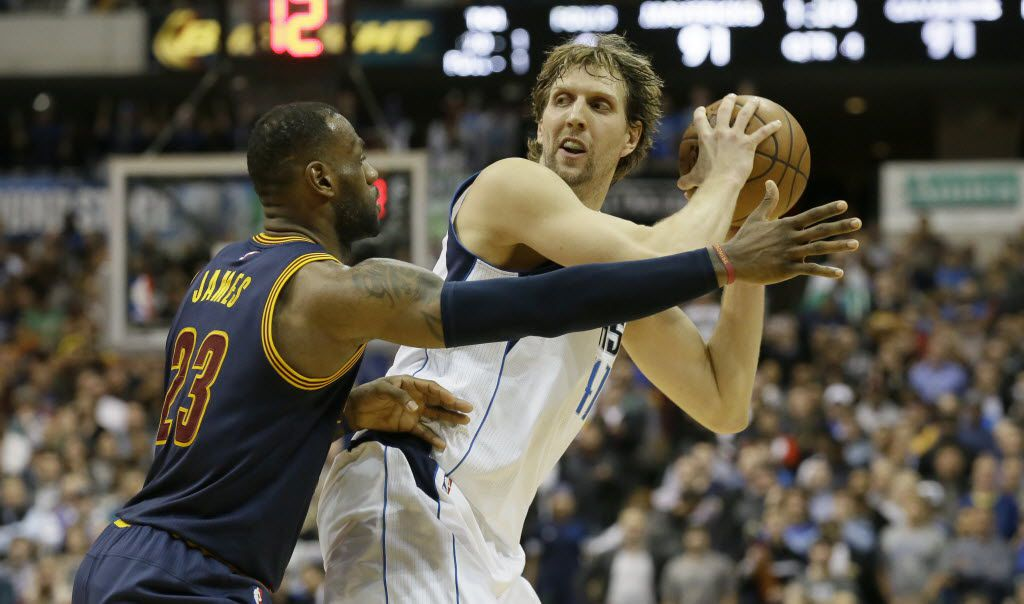 Dallas Mavericks forward Dirk Nowitzki (41) is defended by Cleveland Cavaliers forward LeBron James (23) during the second half of an NBA basketball game Tuesday, Jan. 12, 2016, in Dallas. (AP Photo/LM Otero)