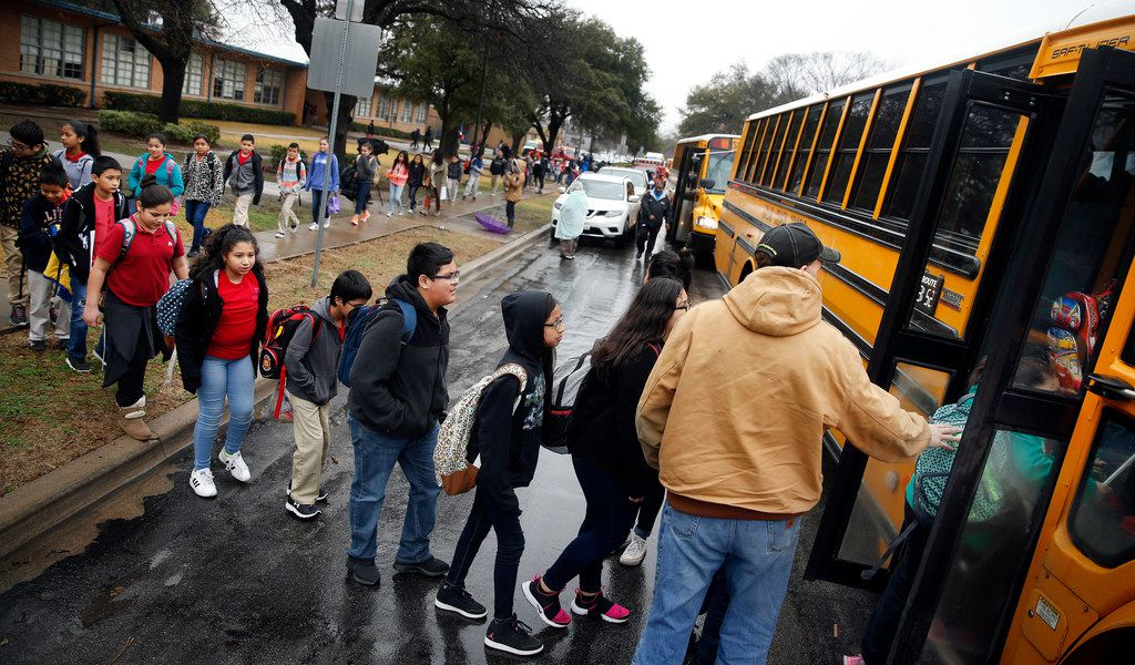 As a precaution, students from Stephen C. Foster Elementary are evacuated and loaded onto school buses following a fatal house explosion on Friday. Dallas Fire and Rescue spokesman Jason Evans said five people were transported to the hospital before sunrise after a house exploded in the 3500 block of Espanola Drive near Love Field in Dallas.