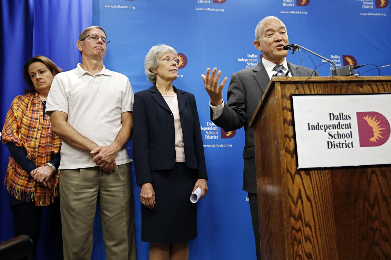Dallas ISD Superintendent Mike Miles, with administrators Paula Blackmon (left), Gray Salada and Ann Smisko, announced his resignation Tuesday. Smisko, the deputy superintendent, will take over while a permanent replacement is sought.