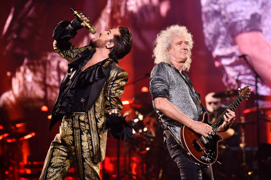 Singer Adam Lambert, left, alongside guitarist Brian May during the Queen + Adam Lambert performance at the American Airlines Center in Dallas, Tuesday July 23, 2019. Ben Torres/Special Contributor