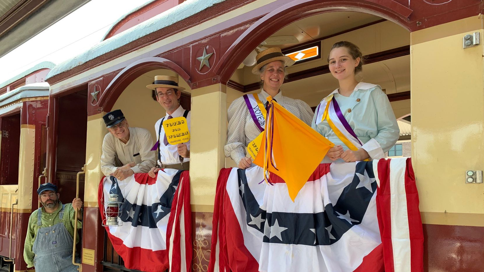 People in 1920s-themed attire will speak about the women's suffrage movement during train excursions on the Grapevine Vintage Railroad.