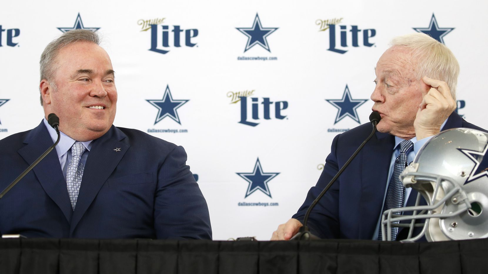 Dallas Cowboys new head coach Mike McCarthy and Dallas Cowboys owner and general manager Jerry Jones look at each other as Jones speaks during a press conference introducing the newly hired coach in the Ford Center at The Star in Frisco, on Wednesday, January 8, 2020.