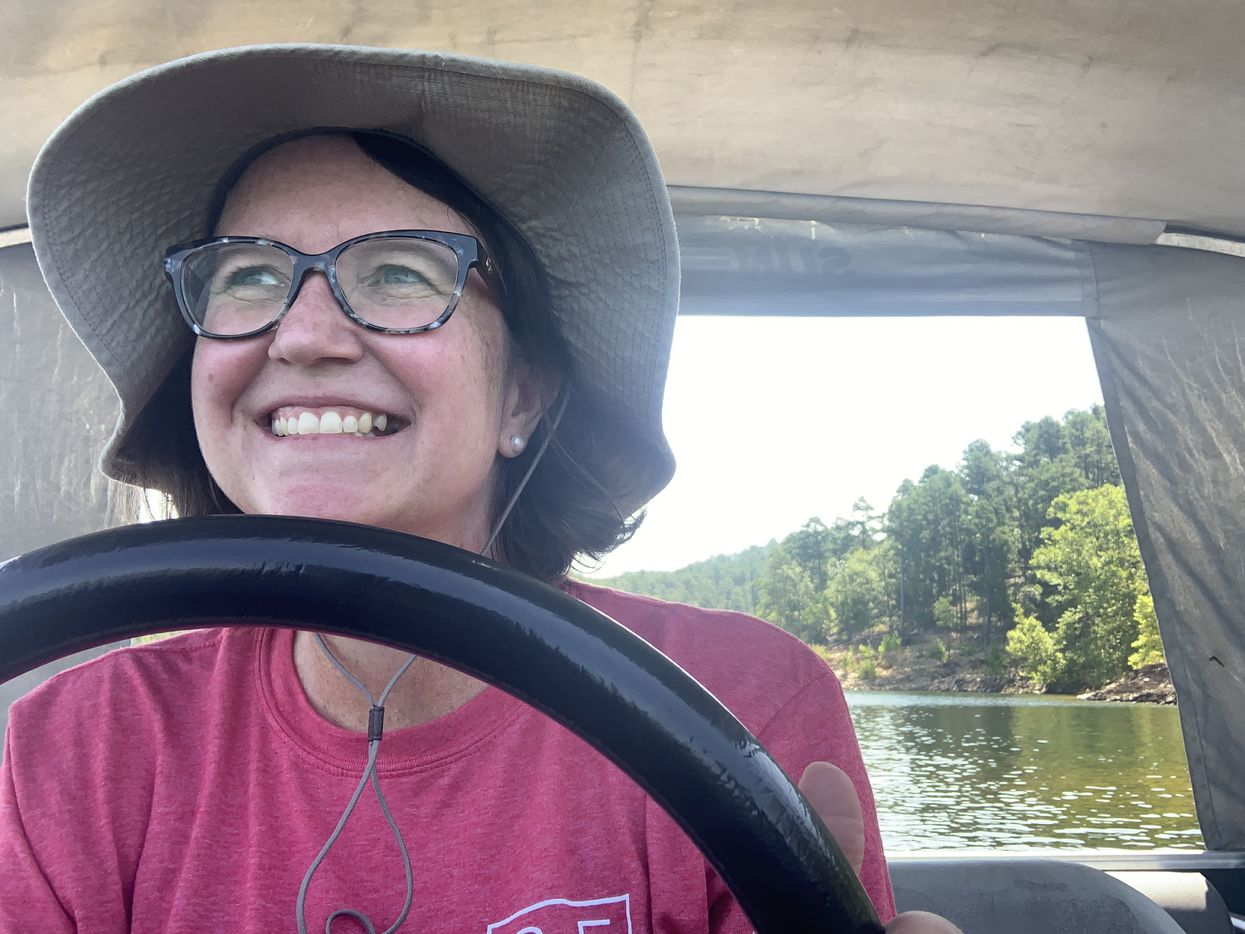 Tyra learned how to drive a boat for the first time while on vacation.