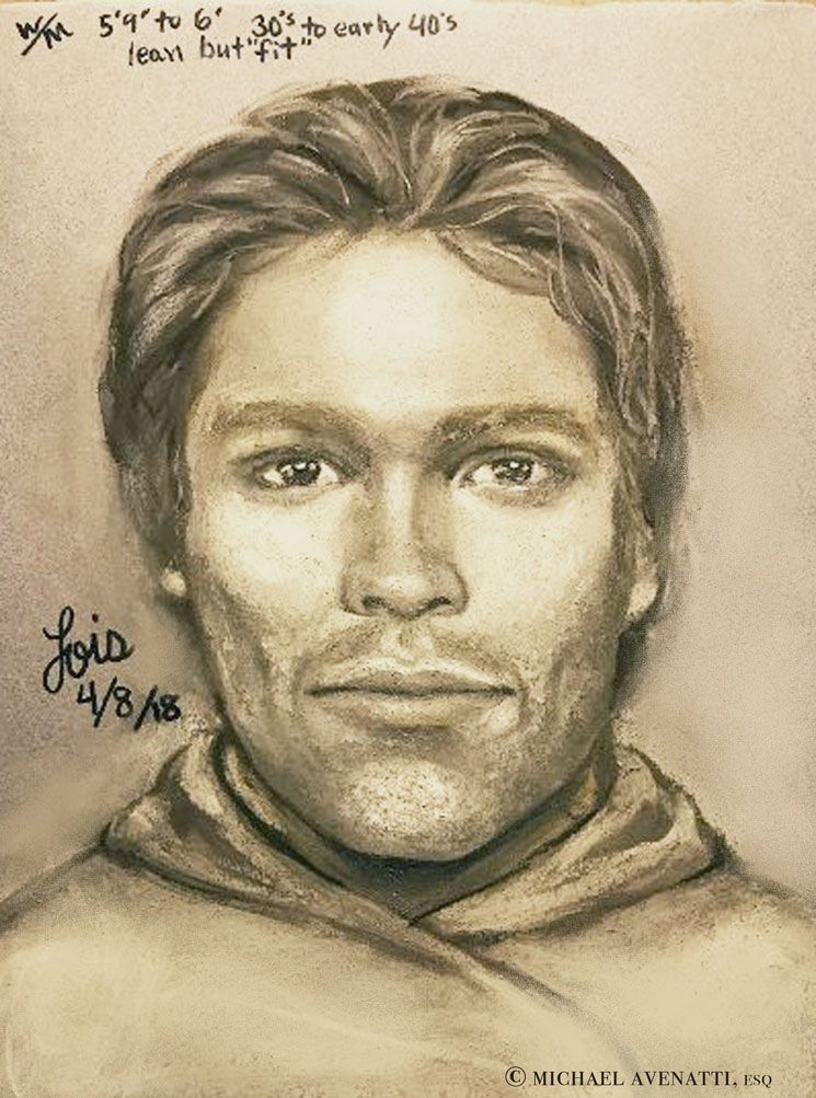 The composite sketch released Tuesday by adult film star Stormy Daniels and her attorney, Michael Avenatti.