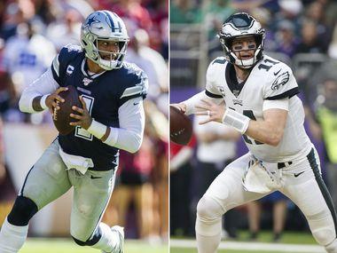 Left: Dallas Cowboys quarterback Dak Prescott (Ashley Landis/The Dallas Morning News) | Right: Philadelphia Eagles quarterback Carson Wentz